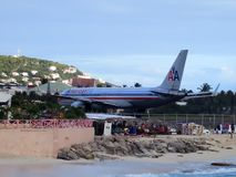 Maho Beach, Sint Maarten. Ready for take off at Maho Beach, Sint Maarten Royalty Free Stock Photography