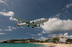 Maho Beach, Sint Maarten - 20th of October 2016: Low Flying Plan stock photo