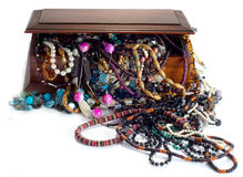 Mahogany box with costume jewellery Stock Image