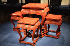 Mahogany furniture. Tables and chairs set Stock Photo