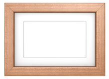 Mahogany picture frame. Wooden frame with Passepartout. Mahogany, isolated Royalty Free Stock Images