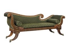 Mahogany scroll arm sofa chaise longue. Chaise longue sofa sette made of mahogany with inlaid brass antique vintage stock photos