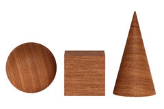 Mahogany wood 3D rendering figures geometric shadowless isolated on white. Mahogany wood figures geometric shapes shadowless isolated on white background. 3D Royalty Free Stock Photos