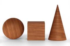 Mahogany wood 3D rendering figures geometric with shadows  on white. Mahogany wood figures geometric shapes with shadows  on white background. 3D rendering Stock Images