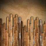 Mahogany wooden parquet mounting. On grunge old floor Royalty Free Stock Photos