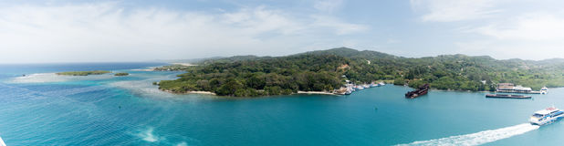 Mahognyfjärd, Roatan, Honduras Arkivbild