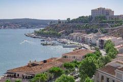 Mahon harbor in Menorca stock photo