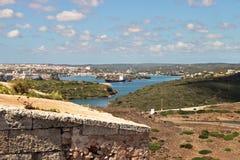 Mahon op de Minorcan Kust in de Middellandse Zee Royalty-vrije Stock Afbeelding