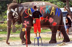 Mahout farby na słoniu podczas Songkran zdjęcia royalty free
