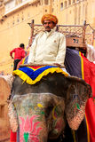Mahout riding decorated elephant on the cobblestone path to Ambe Stock Photo