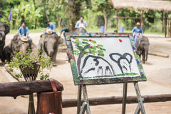 Mahout train elephant drawing a picture. Daily elephant show at The Thai Elephant Conservation Center, Mahout train elephant drawing a picture. Lampang royalty free stock photography