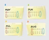 Mai à August Calendar 2014 Images libres de droits