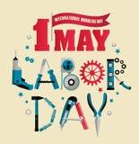 1. Mai Arbeitstagesplakat oder -fahne Auch im corel abgehobenen Betrag Stockfotos