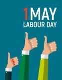 1. Mai Arbeitstagesplakat oder -fahne Auch im corel abgehobenen Betrag Stockbild