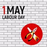 1. Mai Arbeitstagesplakat oder -fahne Auch im corel abgehobenen Betrag Lizenzfreie Stockbilder