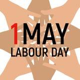 1. Mai Arbeitstagesplakat oder -fahne Auch im corel abgehobenen Betrag Stockfoto