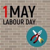 1. Mai Arbeitstagesplakat oder -fahne Auch im corel abgehobenen Betrag Lizenzfreie Stockfotos