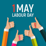 1. Mai Arbeitstagesplakat oder -fahne Auch im corel abgehobenen Betrag Lizenzfreie Stockfotografie