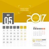 Mai 2017 Calendrier 2017 images libres de droits