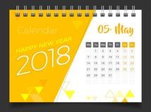 Mai 2018 Calendrier de bureau 2018 Photographie stock libre de droits
