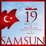 19 mai, commémoration de carte de célébration de la Turquie de jour d'Ataturk, de jeunesse et de sports Photo stock