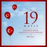 19 mai, commémoration de carte de célébration de la Turquie de jour d'Ataturk, de jeunesse et de sports Photographie stock