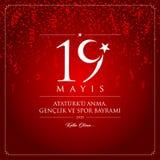 19 mai, commémoration de carte de célébration de la Turquie de jour d'Ataturk, de jeunesse et de sports Photos stock