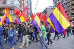 1. Mai Demonstration in Gijon, Spanien Stockbild