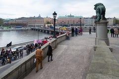 1. Mai Demonstration in Stockholm, Schweden Stockfotos