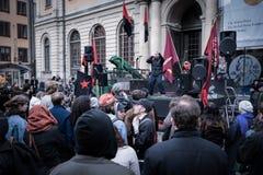 1. Mai Demonstration in Stockholm, Schweden Stockfotografie