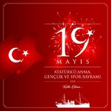 19. Mai Gedenken Tages-die Türkei-Feierder karte Ataturk, der Jugend und des Sports Vektor Abbildung