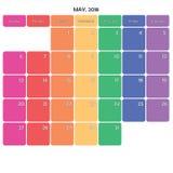 mai 2018 grands jours de la semaine de couleur de l'espace de note de planificateur sur le blanc Images stock