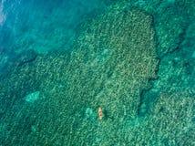 15 mai 2016, Haleiwa Hawaï La vue aérienne d'un inconnu tiennent le pensionnaire de palette surfant dans l'océan Photos libres de droits