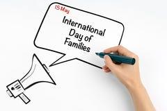 15. Mai internationaler Tag von Familien Stockbild