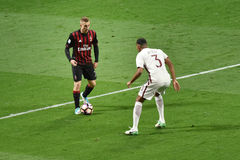 7. MAI 2017: italienisches serie A Fußballspiel AC Mailand gegen ALS Rom 1 - 4 Lizenzfreie Stockfotos