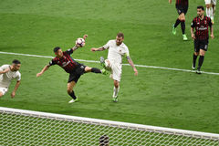7. MAI 2017: italienisches serie A Fußballspiel AC Mailand gegen ALS Rom 1 - 4 Lizenzfreies Stockbild