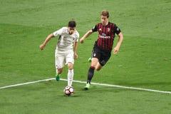 7. MAI 2017: italienisches serie A Fußballspiel AC Mailand gegen ALS Rom 1 - 4 Lizenzfreie Stockfotografie