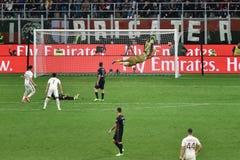 7. MAI 2017: italienisches serie A Fußballspiel AC Mailand gegen ALS Rom 1 - 4 Stockbild