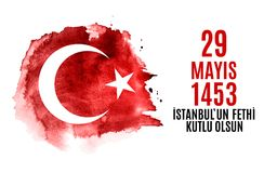 29 mai jour de l'ONU Fethi Kutlu Olsun de ` d'Istanbul avec la traduction : 29 mayday est conquête heureuse d'Istanbul Holida tur Image stock