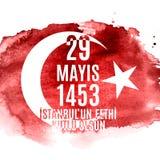 29 mai jour de l'ONU Fethi Kutlu Olsun de ` d'Istanbul avec la traduction : 29 mayday est conquête heureuse d'Istanbul Holida tur Image libre de droits