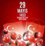 29 mai jour de l'ONU Fethi Kutlu Olsun de ` d'Istanbul avec la traduction : 29 mayday est conquête heureuse d'Istanbul Holida tur Photo stock