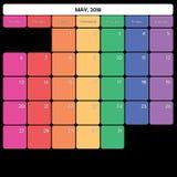 mai 2018 jours de la semaine spécifiques 2 de couleur du grand espace de note de planificateur Photos libres de droits