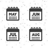 Mai, juin, icônes des juillet et août Symboles de calendrier Images libres de droits