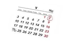 MAI-Kalender Stockfotografie
