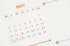 Mai 2016 Kalender Lizenzfreies Stockfoto
