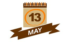 13. Mai Kalender mit Band Lizenzfreie Stockbilder