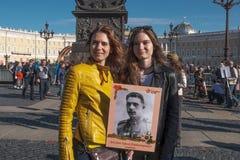 9 mai 2019, la Russie, St Petersburg R?giment immortel d'action nationale sur Nevsky Prospekt P?tersbourg résidents de St photos stock