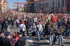 9 mai 2019, la Russie, St Petersburg R?giment immortel d'action nationale sur Nevsky Prospekt P?tersbourg Vacances de ville photo stock
