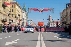9 mai 2019, la Russie, St Petersburg R?giment immortel d'action nationale sur Nevsky Prospekt P?tersbourg Vacances de ville photographie stock libre de droits