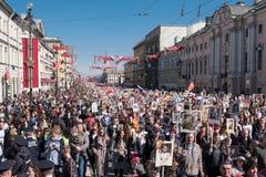 9 mai 2019, la Russie, St Petersburg R?giment immortel d'action nationale sur Nevsky Prospekt P?tersbourg Vacances de ville photo libre de droits